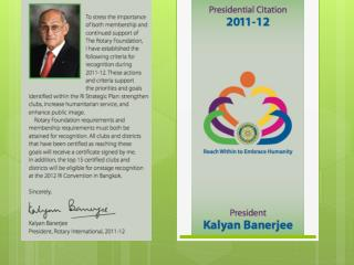 CERTIFICATE FROM ROTARY INTERNATIONAL FOR CLUB PRESIDENT