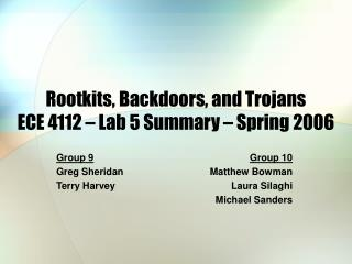 Rootkits, Backdoors, and Trojans ECE 4112 – Lab 5 Summary – Spring 2006