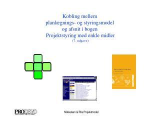 Kobling mellem  planlægnings- og styringsmodel  og afsnit i bogen  Projektstyring med enkle midler
