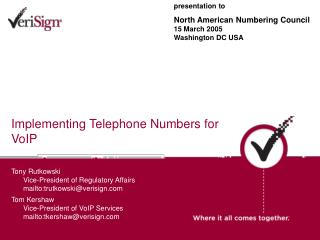 Implementing Telephone Numbers for VoIP