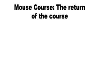 Mouse Course: The return of the course