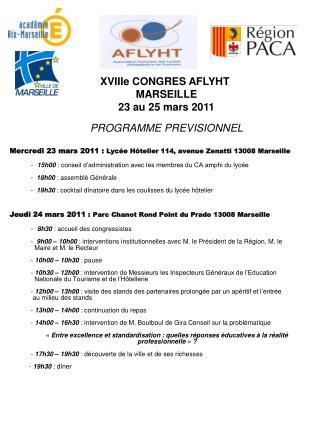 XVIIIe CONGRES AFLYHT  MARSEILLE 23 au 25 mars 2011