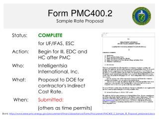 Form PMC400.2 Sample Rate Proposal