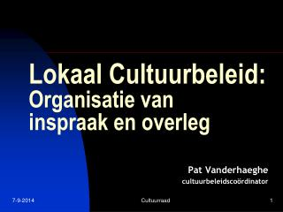 Lokaal Cultuurbeleid: Organisatie van  inspraak en overleg