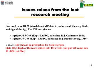 Issues raises from the last research meeting