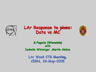 LAr Response to pions: Data vs MC