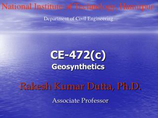 Rakesh Kumar Dutta, Ph.D. Associate Professor