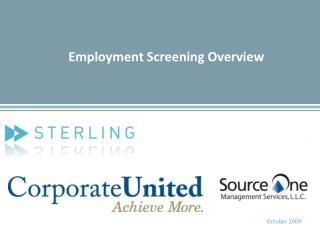 Employment Screening Overview