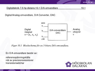 Digitalteknik 7.5 hp distans:10.1 D/A-omvandlare            10.1