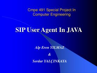 Cmpe 491 Special Project In Computer Engineering