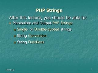 PHP Strings