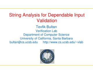 String Analysis for Dependable Input Validation