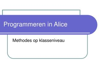 Programmeren in Alice