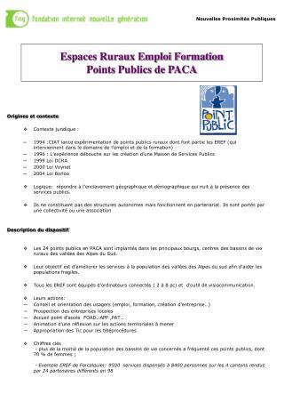 Espaces Ruraux Emploi Formation Points Publics de PACA