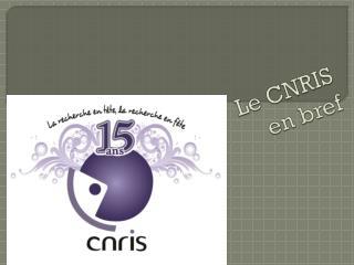 Le CNRIS  en bref