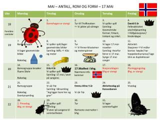 MAI – ANTALL, ROM OG FORM – 17.MAI