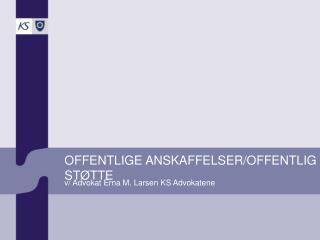 OFFENTLIGE ANSKAFFELSER/OFFENTLIG STØTTE