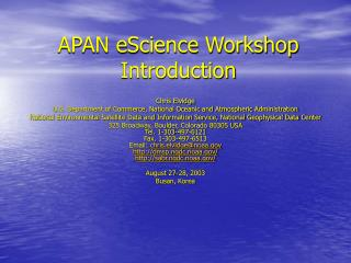 APAN eScience Workshop Introduction
