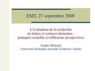 ESIT, 27 septembre 2008