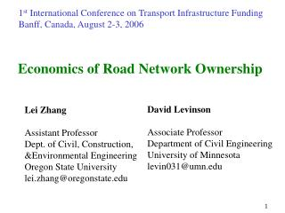 Economics of Road Network Ownership