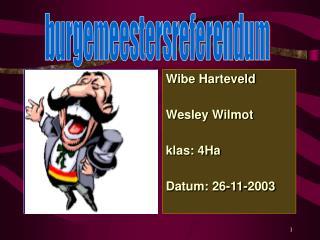 Wibe Harteveld Wesley Wilmot  klas: 4Ha Datum: 26-11-2003