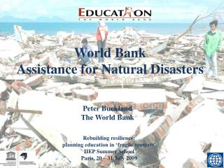 World Bank Assistance for Natural Disasters