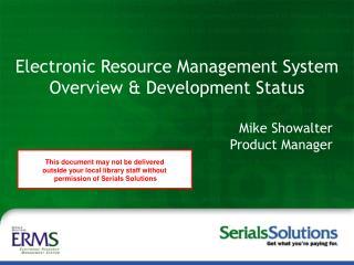 Steve McCracken Peter McCracken, MLS Serials Solutions, Inc.