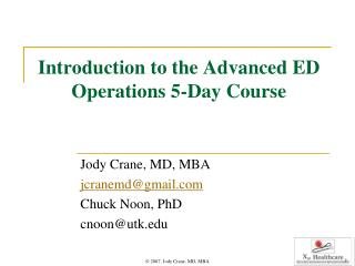 Introduction to the Advanced ED Operations 5-Day Course