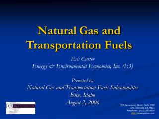 Natural Gas and Transportation Fuels