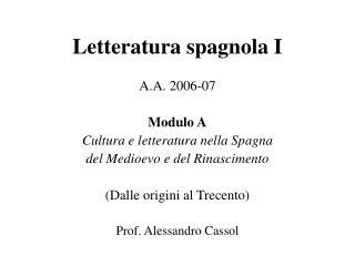 Letteratura spagnola I