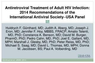 IAS  USA  Antiretroviral Guidelines 1996 – 2014