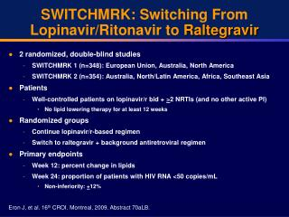 SWITCHMRK: Switching From Lopinavir/Ritonavir to  Raltegravir