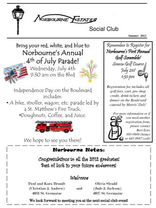 Bring your red, white, and blue to Norbourne�s Annual  4 th  of July Parade! Wednesday, July 4th
