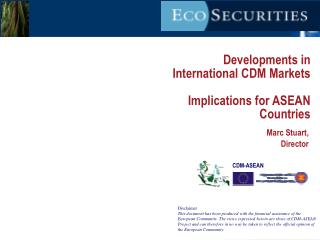 Developments in International CDM Markets Implications for ASEAN Countries
