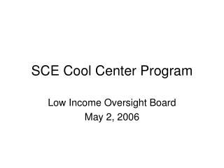 SCE Cool Center Program