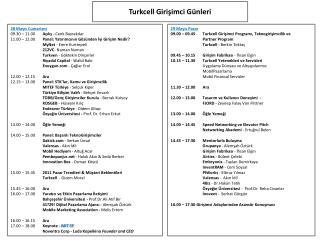 29 Mayıs Pazar  09.00  –  09.45 Turkcell Girişimci Programı, Teknogirişimcilik ve Partner Program