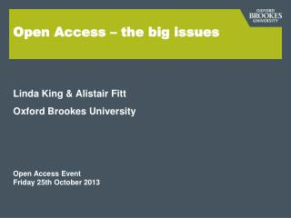 Open Access – the big issues
