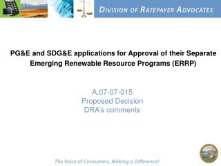 A.07-07-015 Proposed Decision  DRA's comments