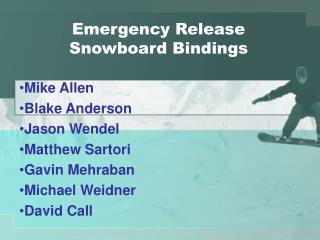 Emergency Release Snowboard Bindings