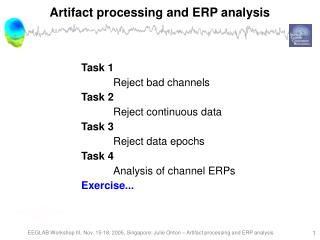Artifact processing and ERP analysis