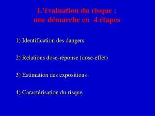 L'évaluation du risque : une démarche en  4 étapes