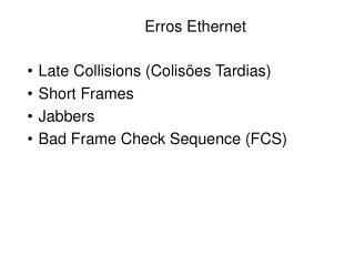 Erros Ethernet