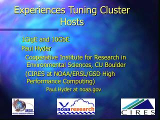 Experiences Tuning Cluster Hosts