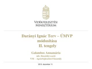 Darányi Ignác Terv – ÚMVP módosítása  II. tengely