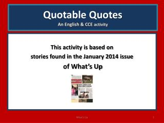 Quotable Quotes An English  & CCE  activity