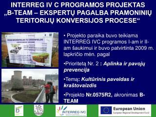 INTERREG IV C PROGRAMOS PROJEKTAS