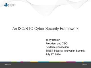 An ISO/RTO Cyber Security Framework