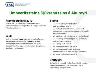 Umhverfisstefna Sjúkrahússins  á  Akureyri