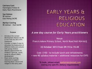 Early Years & Religious Education