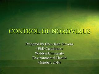 CONTROL OF NOROVIRUS